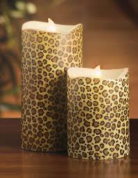 Home Decor Candles 2 Led Leopard Print Candles Safari Home Decor Leopards Safari