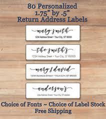80 personalized printed peel stick script return address