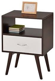 mid century style side end table nightstand with drawer shelf