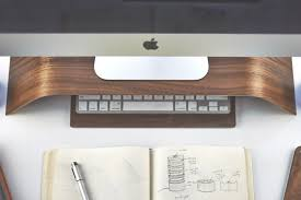 Mac Desk Accessories Grovemade S Walnut Monitor Stand Is An Imac Accessory That Will