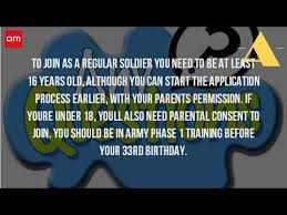 can you join the army at age 16 youtube