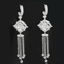 hanging earrings diamond dangle earrings 1 68ct 18k gold