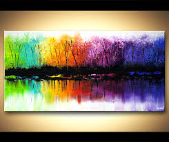 original abstract modern landscape made original abstract paintings by osnat colorful reflection