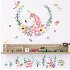 compare prices on unicorn wall murals online shopping buy low cartoon unicorn flower bird wall stickers bedroom living room sofa furniture background cozy cottage home decor