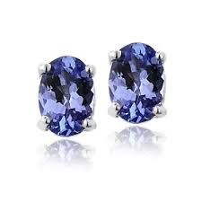 tanzanite stud earrings sterling silver 1 00ct genuine tanzanite oval stud earrings ebay