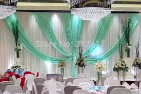 White Curtains With Pom Poms Decorating Wholesale And Retail 10x20 White And Aqua Wedding Stage Backdrop