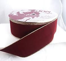 burgundy wired ribbon wired burgundy velvet with gold edge christmas ribbon