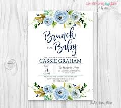 baby brunch invitations baby shower boy brunch invitation floral blue baby shower boy