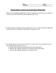 displacement and velocity worksheet worksheets