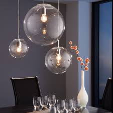 Pendelleuchte Esszimmertisch Skapetze Orb 30 Pendelleuchte Glaskugel Klar Chrom