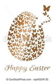 vectors of gold easter egg consists of flying butterflies isolated
