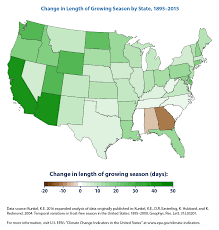 Map Of Southeastern States by Climate Change Indicators Length Of Growing Season Climate
