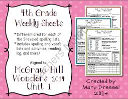 mcgraw hill wonders 4th grade unit 1 weekly spelling vocab