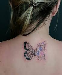 flowers and butterfly tattoos on back for weekly styles