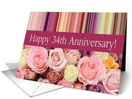 34th wedding anniversary card pastel roses and stripes card