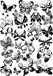 black and white butterfly element vector free vector 4vector