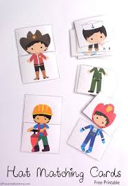 hat matching printable cards hats community helpers and