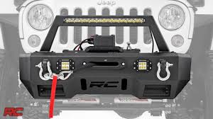 jeep winch bumper 2007 2017 jeep wrangler front stubby led winch bumper by rough