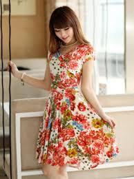 orange peach dress with v neckline printed floral color summer