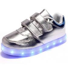 Kids Light Up Shoes Led Shoes Kids Silver High Top