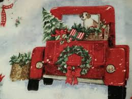 susan winget vtg red pickup truck off to grandmas house christmas