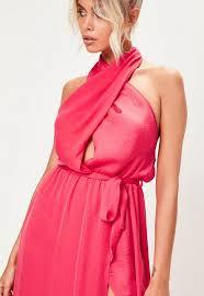 pink dress pink satin twist maxi dress missguided