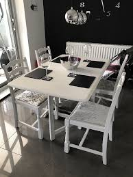 upcycled dining room table and chairs grey chalk paint silver