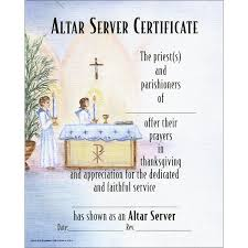 altar server certificate oil painting worded or blank st