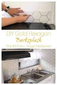white kitchen cabinets with hexagon backsplash diy gold hexagon backsplash the palette muse