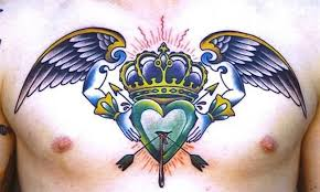 color ink crown angel wings with arrow heart tattoo design