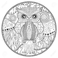 zen of design patterns mandala with owl design zentangle hand drawn abstract patterns