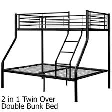 Buy Twin Over Double Bunk Bed Metal W Ladder Black - Double bunk beds