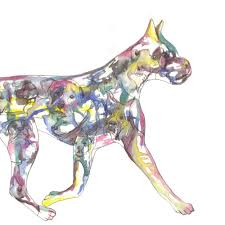 Dog Home Decor by American Boxer Art Original Watercolor Silhouette Painting Dog