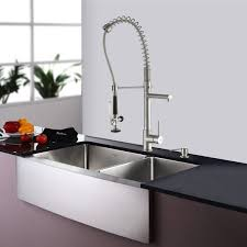commercial style kitchen faucets kraus 33 inch farmhouse bowl stainless steel kitchen sink