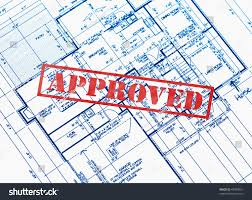 house blueprint stamped approved red stock photo 43993657