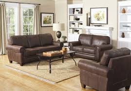 Brown Microfiber Rustic Style Family Room Sofa Set - Family room sofa sets