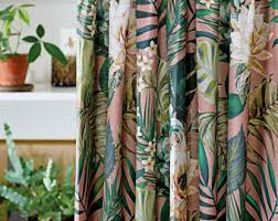 Tropical Curtain Panels Floral Curtains Etsy
