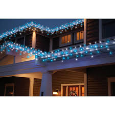time led random twinkle icicle light set white wire blue