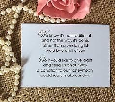 wedding gift honeymoon fund 25 50 wedding gift money poem small cards asking for money
