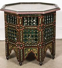 moroccan hand painted dark green side table for sale at 1stdibs