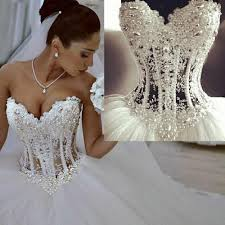 custom wedding dress wonderful pearls corset lace gown wedding dresses white 2016