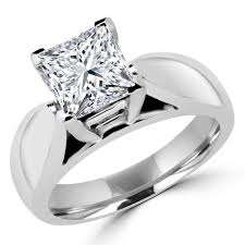 wide band solitaire princess cut engagement ring bijoux majesty