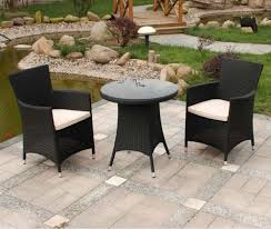 Black Patio Chair Mediterranean Backyard Landscaping Ideas With Black Resin Wicker