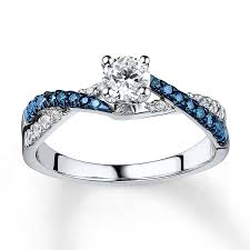 blue and white engagement rings blue white ring 3 4 ct tw cut 14k white gold