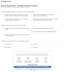 Quiz  amp  Worksheet   Writing Reflection Papers   Study com Print How to Write a Reflection Paper Worksheet