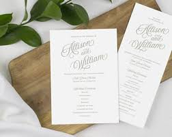 cheap wedding programs printed printed program etsy