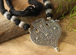 silver jewellery necklace sets images Tribal black ethnic oxidized silver plated thread handmade jpg