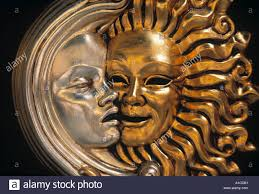 moon mask sun and moon mask venice italy stock photo royalty free image