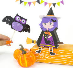 diy halloween witch treat box and owl lollipop cover