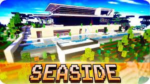 minecraft modern seaside house design with interior cinematic